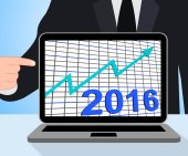 Twenty Sixteen Graph Chart Displays Increase In 2016 — Stock Photo