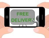 Free Delivery Phone Shows Postage And Packaging Included — Stock Photo