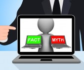 Fact Myth Laptops Displays Facts Or Mythology — Stock Photo