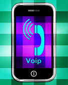 Voip On Phone Displays Voice Over Internet Protocol Or Ip Teleph — Stok fotoğraf