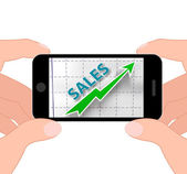 Sales Graph Displays Increased Selling And Earnings — Stock Photo