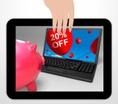 Twenty Percent Off Laptop Displays Online Products Discounted 20 — Stock Photo