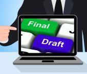 Final Draft Keys Displays Editing And Rewriting Document — Stockfoto