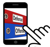 Defence Offense Folders Displays Protect And Attack — Stock Photo
