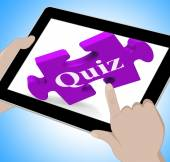 Quiz Tablet Means Internet Question And Answer Game — Stock Photo