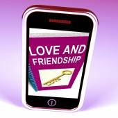 Love and Friendship Phone Represents Keys and Advice for Friends — Stock Photo
