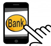 Bank Button Displays Online Or Internet Banking — Stock Photo