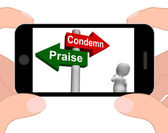 Condemn Praise Signpost Displays Appreciate or Blame — Stock fotografie