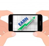 Earn Graph Displays Rising Income Gain And Profits — Stock Photo