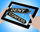 Deny Confess Tablet Means Refute Or Admit To — Stock Photo