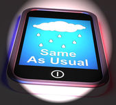 Same As Usual On Phone Displays No Change In The Weather — Stock Photo