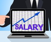 Salary Chart Graph Displays Increase Earn Cash Wealth Revenue — Stock Photo