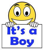 It's A Boy On Sign Shows Newborn Male Baby — Stock Photo
