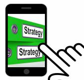 Strategy Folders Displays Strategic Planning And Business Proces — Stock Photo