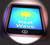 Heat Wave On Phone Displays Hot Weather — Foto Stock