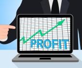 Profit Chart Graph Displays Increase Cash Wealth Revenue — Stock Photo