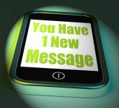 You Have 1 New Message On Phone Displays New Mail — Stock Photo