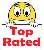 Top Rated On Sign Shows Best Ranked Special Product — Stock Photo