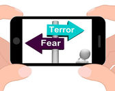 Terror Fear Signpost Displays Anxious Panic And Fears — Stock Photo