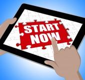 Start Now Tablet Shows Commence Or Begin Immediately — Stock Photo