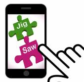 Jigsaw Displays Puzzle Game And Connecting Pieces — Stock Photo