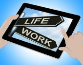 Life Work Tablet Means Balance Of Career Health And Relationship — Stock Photo