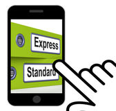 Express Standard Folders Displays Fast Or Regular Delivery — Stock Photo