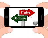 Fake Genuine Signpost Displays Authentic or Faked Product — Stock Photo