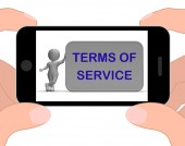 Terms Of Service Phone Shows Agreement And Contract For Use — Stock Photo