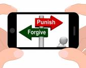 Punish Forgive Signpost Displays Punishment or Forgiveness — Stock Photo