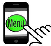 Menu Button Displays Ordering Food Menus Online — Stock Photo