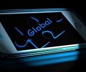Global Smartphone Displays Worldwide Everywhere And Internationa — Foto de Stock