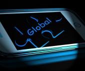 Global Smartphone Displays Worldwide Everywhere And Internationa — Стоковое фото