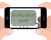 Available Now Phone Shows Availability And In Stock — Stock Photo