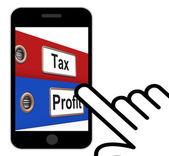 Tax Profit Folders Displays Paying Income Taxes — Zdjęcie stockowe