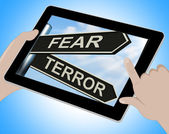 Fear Terror Tablet Shows Frightened And Terrified — Stock Photo