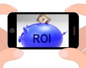 ROI Piggy Bank Displays Investors Return And Income — Stock Photo