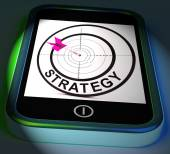 Strategy Smartphone Displays Methods Tactics And Game Plan — Stock Photo