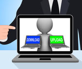 Download Upload Laptops Displays Downloading Uploading Online Da — Stock Photo