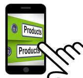 Products Folders Displays Goods And Merchandise For Sale — Stock Photo