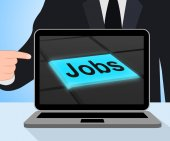 Jobs Button Displays Hiring Recruitment Online Hire Job — Stock Photo