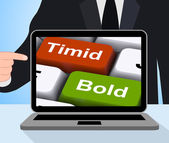 Timid Bold Computer Show Shy Or Outspoken — Stock Photo