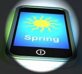 Spring On Phone Displays Springtime Season — Stock Photo