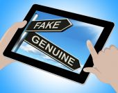 Fake Genuine Tablet Shows Imitation Or Authentic Product — Stock Photo
