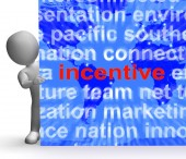 Incentive Word Cloud Sign Shows Bonus Inducement Reward — Stockfoto