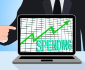 Spending Chart Graph Displays Increasing Expenditure Purchasing — Stock Photo