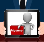 Mystery Book And Character Displays Fiction Genre Or Puzzle To S — Stock Photo