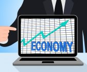 Economy Graph Chart Displays Increase Economic Fiscal Growth — Stock Photo