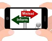 Mislead Inform Signpost Displays Misleading Or Informative Advic — Stock Photo