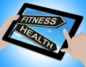 Fitness Health Tablet Shows Work Out And Wellbeing — Stock Photo